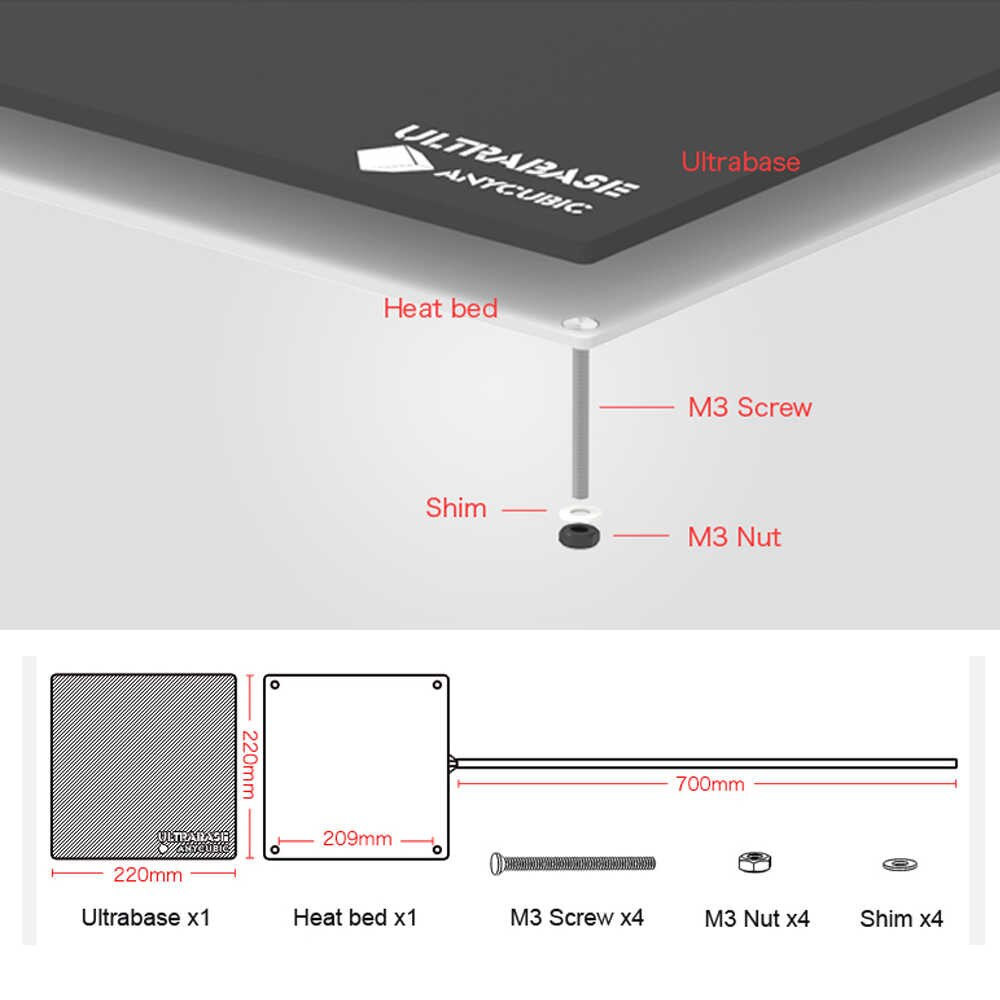 Anycubic Ultrabase heatbed 220x220x6mm